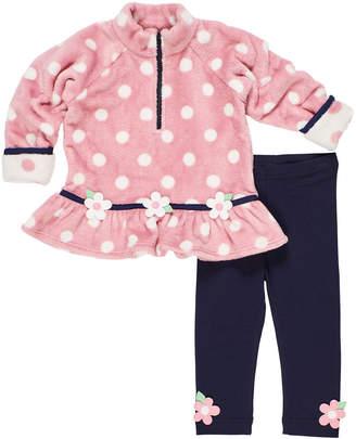 Florence Eiseman Plush Polka-Dot Fleece Top w/ Matching Leggings, Size 2-6X