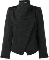 Ann Demeulemeester high neck biker jacket - women - Cotton/Linen/Flax/Viscose - 36