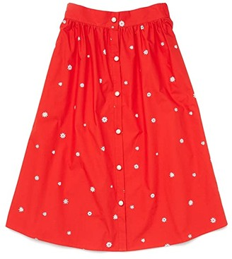 ban.do Daisies Easy Button-Up Skirt (Red) Women's Skirt