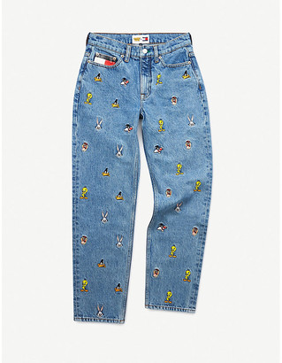 Tommy Jeans Looney Tunes x mid-rise straight graphic-embroidered jeans
