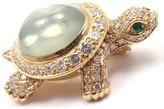 Cartier Turtle 18k Yellow Gold 4.50 Ct Diamond Moonstone Pin Brooch