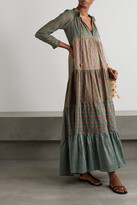Thumbnail for your product : Yvonne S Hippy Tiered Printed Cotton-voile Maxi Dress - Green