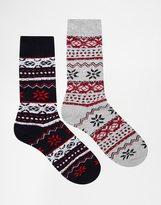 Jack & Jones Boot Socks In Fairisle - Multi