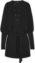 Balmain Lace-up Crepe Mini Dress - Black