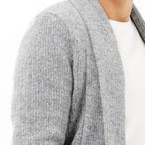River Island MensGrey wool-blend longline open cardigan