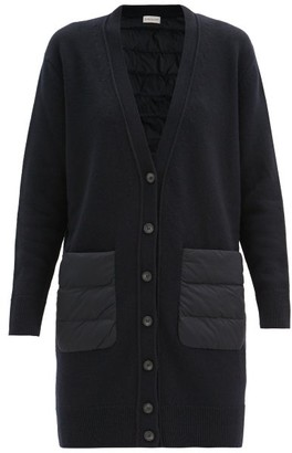 Moncler Longline Down Quilted-panel And Wool Cardigan - Navy