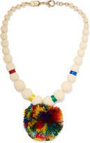 Rosantica Guatemala Gold-tone, Bone And Pompom Necklace - Ivory