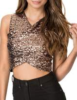 HaoDuoYi Womens Sexy Glitter Sequin Wrap Sleeveless Crop Tank Top(S,)