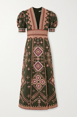 Ulla Johnson Amaria Beaded Embroidered Cotton And Linen-blend Twill Midi Dress - Army green
