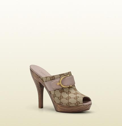 Gucci stirrup original GG canvas high-heel clog