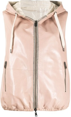 Brunello Cucinelli Leather Hooded Gilet