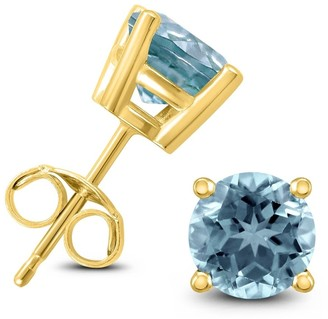 Marquee 14K Yellow Gold 4MM Round Aquamarine Earrings