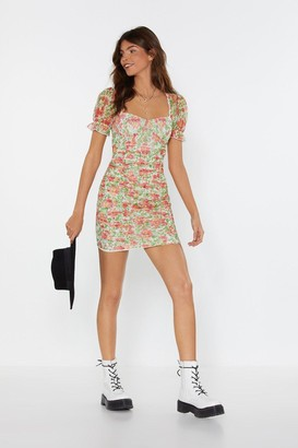 Nasty Gal Womens Let's Have a Bud Time Mesh Floral Mini Dress - Red