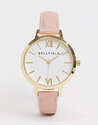 Bellfield watch with pink strap and white dial