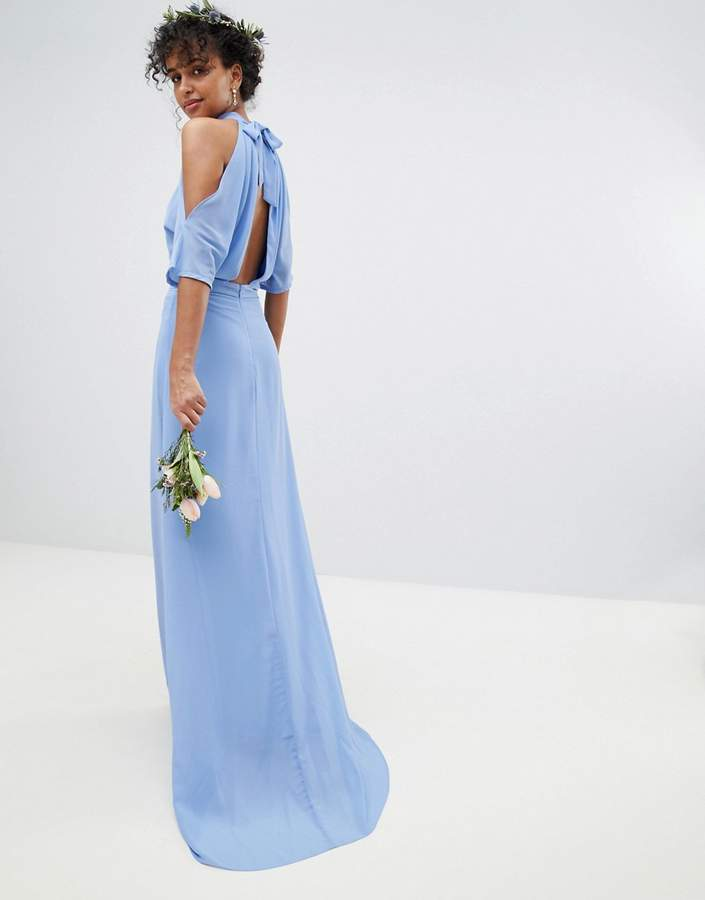 TFNC High Neck Maxi Bridesmaid Dress With Fishtail