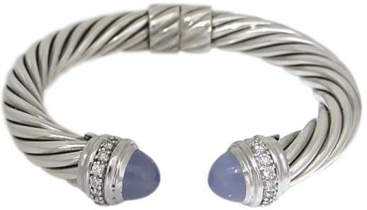 David Yurman 925 Sterling Silver with Diamond & Chalcedony Cable Hinge Cuff Bracelet
