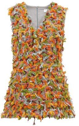 Marina Moscone - Cut-thread V-neck Tunic - Womens - Grey Multi