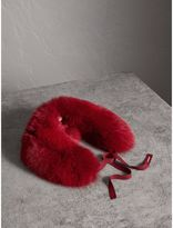 Burberry Fox Fur Collar with Check Cashmere Lining, Red