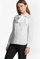 French Connection Southside Cotton Neck Tie Blouse