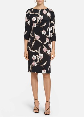 St. John Desert Floral Stretch Silk Dress
