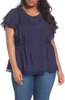 Sejour Plus Size Women's Lace Trim Pintuck Pleated Top