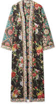 Alice + Olivia Alice Olivia - Lynn Jacquard-trimmed Floral-print Stretch-jersey Kimono - Black
