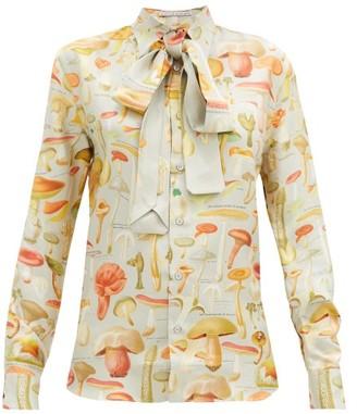 Alister Mackie - Mushroom-print Silk-twill Shirt - Silver Multi