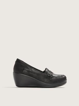 Skechers Wide Rumblers Slip On Loafers with Wedge Heel