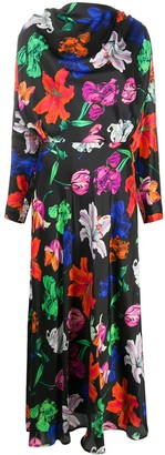 MSGM Floral-Print Long Dress