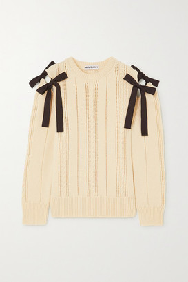 Molly Goddard Blanche Tie-detailed Cable-knit Wool Sweater - Cream