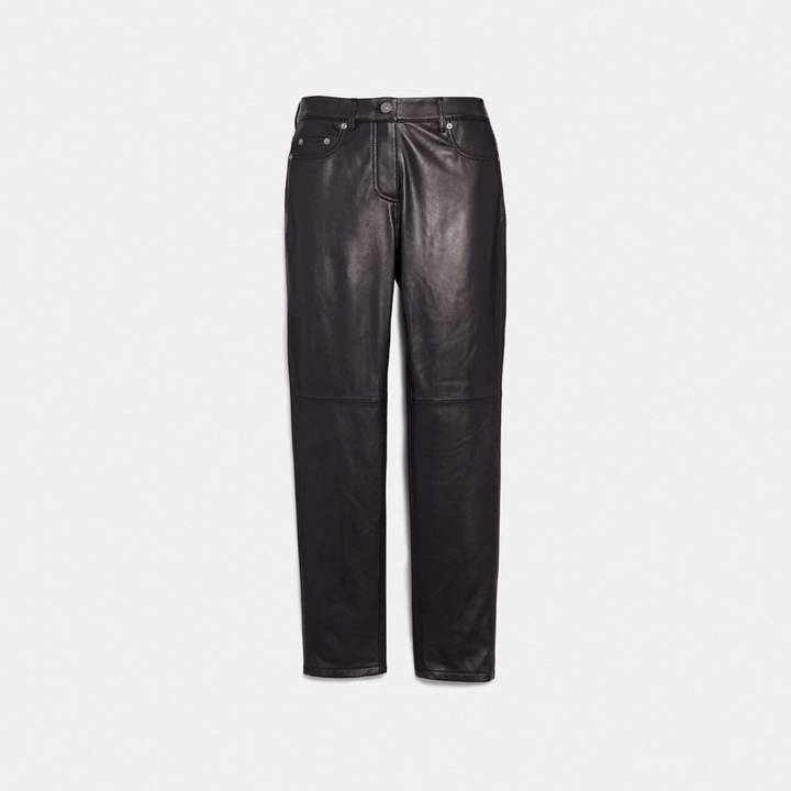 Coach Five Pocket Leather Jeans