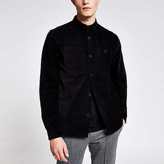 River Island Black corduroy long sleeve shirt