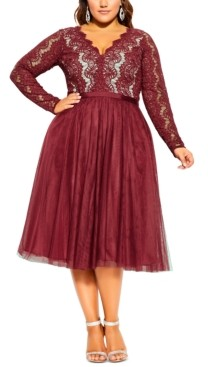 City Chic Trendy Plus Size Rare Beauty Lace & Tulle Dress