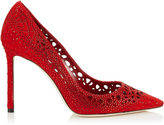 Jimmy Choo ROMY 110 Red Perforated Suede with Crystal Hotfix Detailing Pointy Toe Pumps