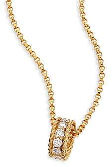Roberto Coin Women's Symphony Braided 0.26 TCW Diamond & 18K Yellow Gold Pendant Necklace