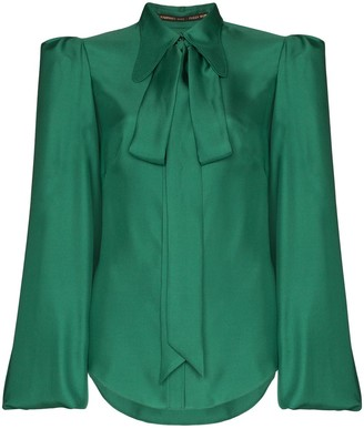 The Vampire's Wife Bell Sleeve Tie-Neck Blouse
