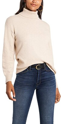 1 STATE Open Back Turtleneck Sweater (Camel Heather) Women's Clothing