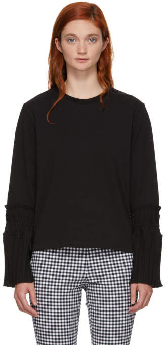3.1 Phillip Lim Black Long Sleeve Pleated Cuff T-Shirt