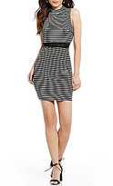 I.N. San Francisco Mock Neck Crochet Waist Popover Striped Sheath Dress