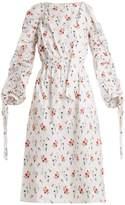 TEIJA Gathered-sleeve floral-print cotton dress