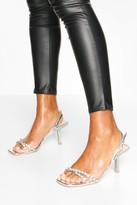 boohoo Diamante Low Heel Sandals