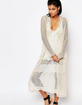Moon River Long Knitted Cardigan with Raw Trim
