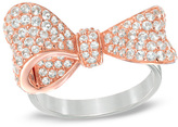 Zales Lab-Created White Sapphire Bow Ring in Sterling Silver with 18K Rose Gold Plate - Size 7
