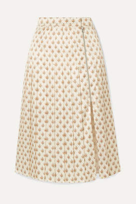ALEXACHUNG Pleated Floral-print Satin Midi Skirt - Ecru