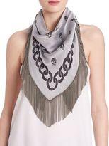 Alexander McQueen Chain Jacquard Wool & Silk Trigon Scarf