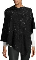 Neiman Marcus Embellished Asymmetric Poncho Top, Black