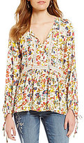 Jessica Simpson Sancia Floral-Printed Long-Sleeve Peasant Top