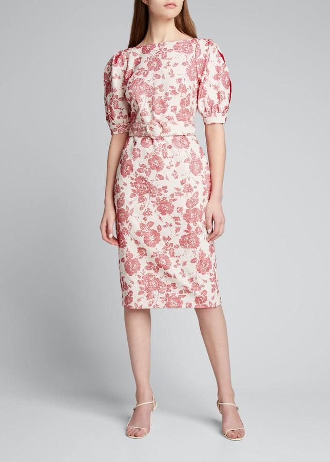 Badgley Mischka Floral Jacquard Puff-Sleeve Belted Sheath Dress