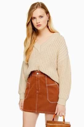 Topshop Womens Mid Weight V-Neck Jumper - Oatmeal