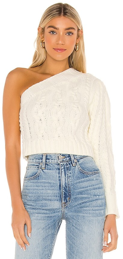 For Love & Lemons Quinn One Shoulder Sweater